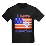 ILY America Flag Kids Dark T-Shirt