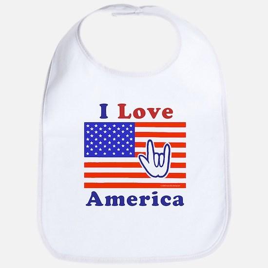 ILY America Flag Bib