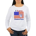 ILY America Flag Women's Long Sleeve T-Shirt