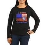 ILY America Flag Women's Long Sleeve Dark T-Shirt