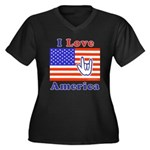 ILY America Flag Women's Plus Size V-Neck Dark T-S