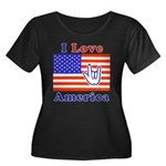 ILY America Flag Women's Plus Size Scoop Neck Dark