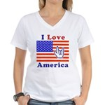 ILY America Flag Women's V-Neck T-Shirt