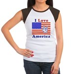 ILY America Flag Women's Cap Sleeve T-Shirt