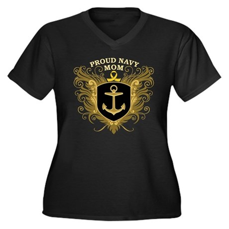 Proud Navy Mom Women's Plus Size V-Neck Dark T-Shi