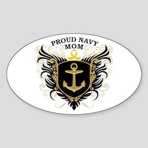 Proud Navy Mom Sticker (Oval)