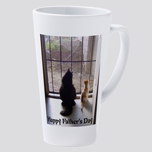 Happy Fathers Day Cat And Kitten 17 Oz Latte Mug