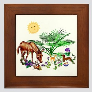 Animal Picnic Framed Tile