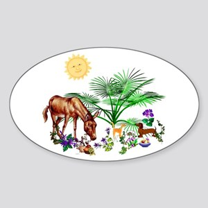 Animal Picnic Oval Sticker