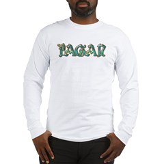 Turquoise Pagan Text Long Sleeve T-Shirt