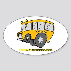 I Drive Cool Bus Oval Sticker