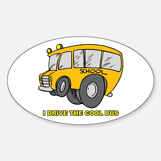 I Drive Cool Bus Oval Decal