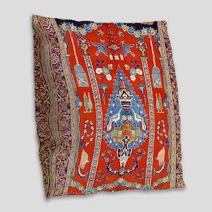 Persian Kashan Rug Burlap Throw Pillow