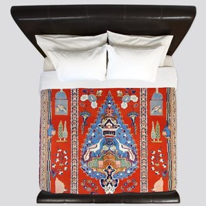 Persian Kashan Rug King Duvet