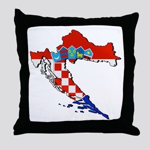 Croatia Map Throw Pillow