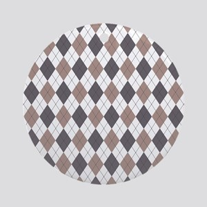 Brown: Argyle Pattern Round Ornament