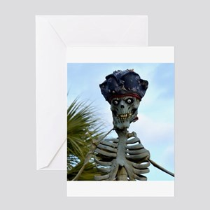 pirate skeleton head Greeting Cards