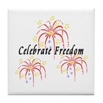 USA July 4th Fireworks Tile Coaster