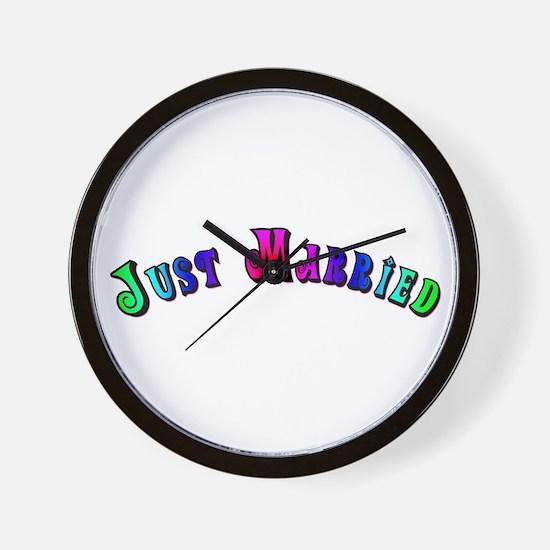 Rainbow Just Married Gay Wall Clock