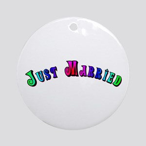 Rainbow Just Married Gay Ornament (Round)