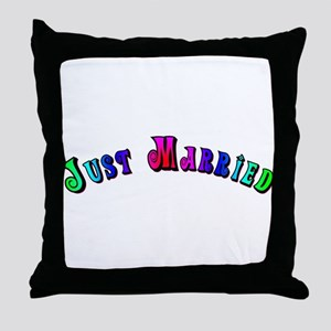 Rainbow Just Married Gay Throw Pillow