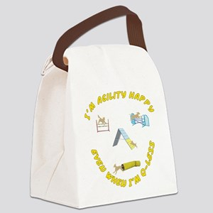 AgilityHappyQless_Square Canvas Lunch Bag