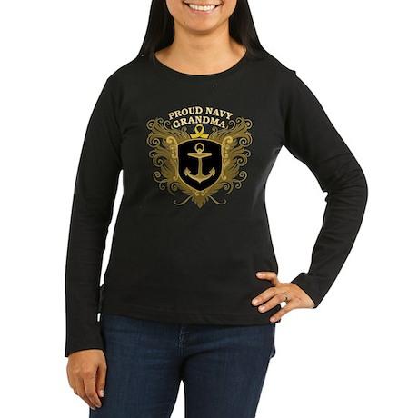 Proud Navy Grandma Women's Long Sleeve Dark T-Shir