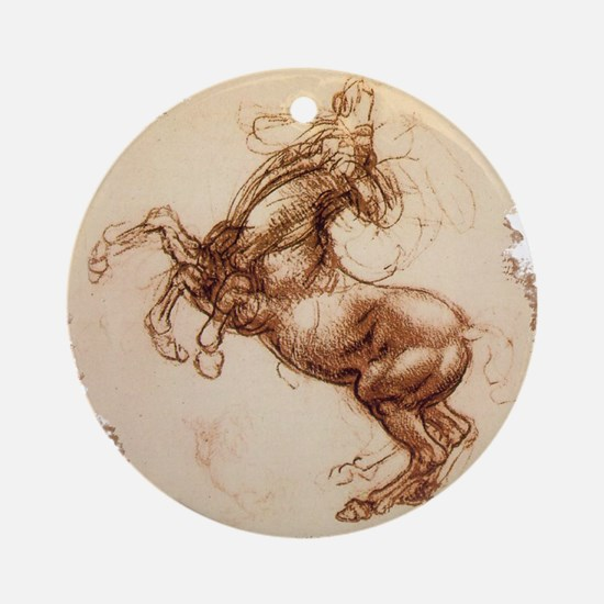 Rearing Horse Art Ornament (Round)