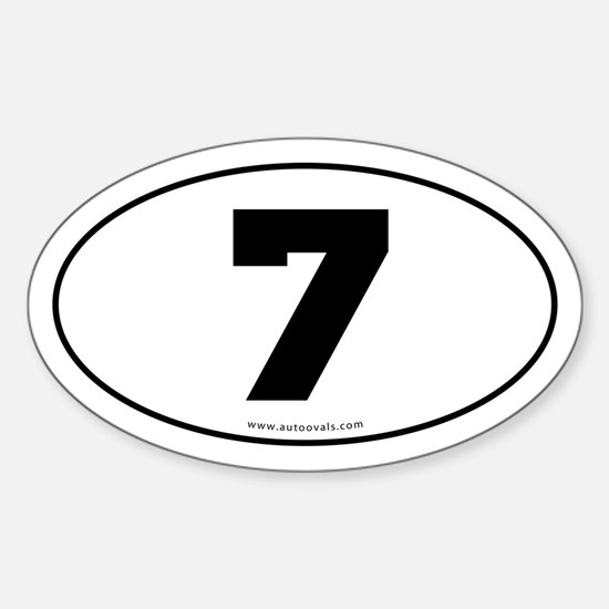 #7 Euro Bumper Oval Sticker -White