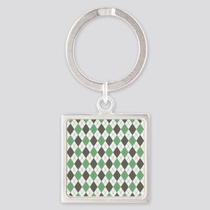 Green: Argyle Pattern Square Keychain