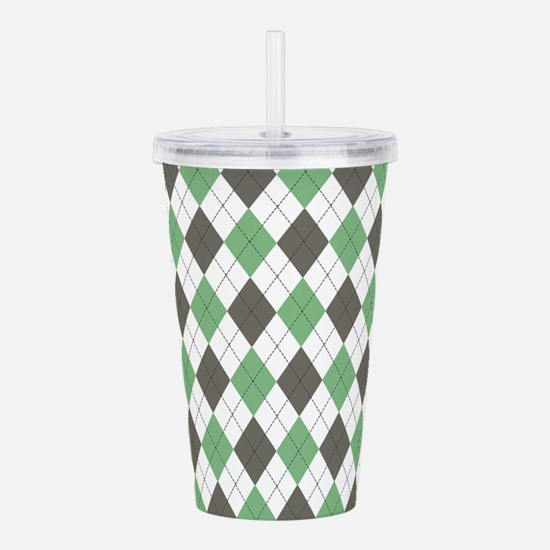 Green: Argyle Pattern Acrylic Double-wall Tumbler