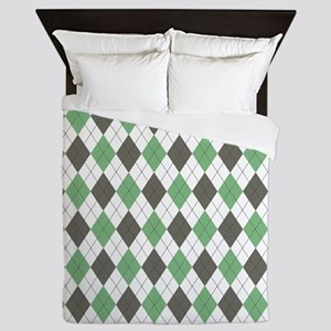 Green: Argyle Pattern Queen Duvet