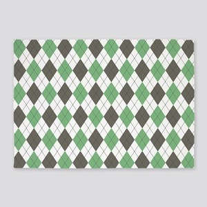 Green: Argyle Pattern 5'x7'Area Rug