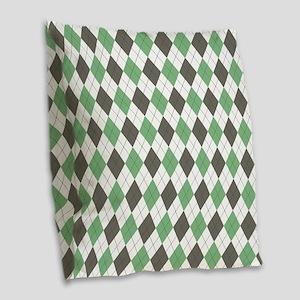 Green: Argyle Pattern Burlap Throw Pillow