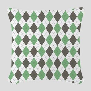 Green: Argyle Pattern Woven Throw Pillow