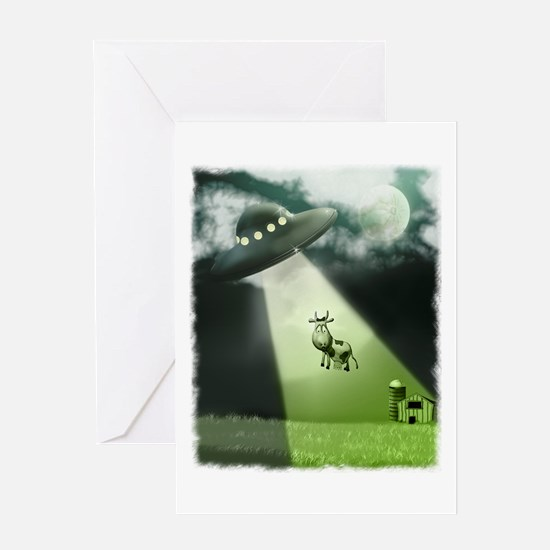 Comical Cow Abduction Greeting Card