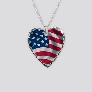 usflag Necklace Heart Charm