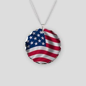 usflag Necklace Circle Charm