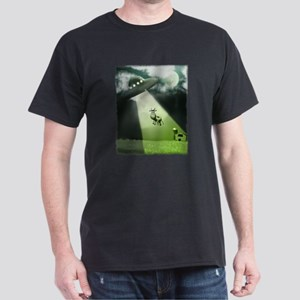 Comical Cow Abduction Dark T-Shirt