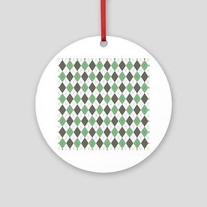 Green: Argyle Pattern Round Ornament