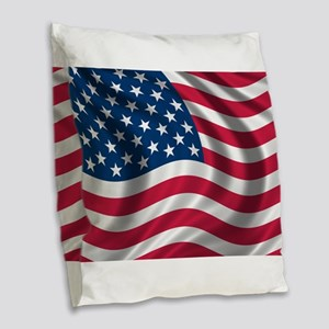 usflag Burlap Throw Pillow