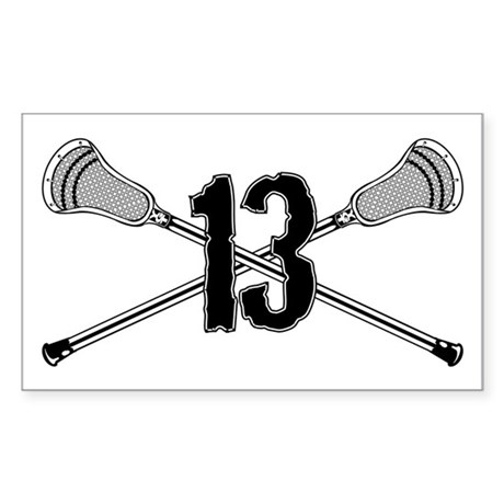 Lacrosse Number 13 Rectangle Sticker