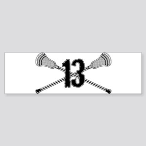 Lacrosse Number 13 Bumper Sticker