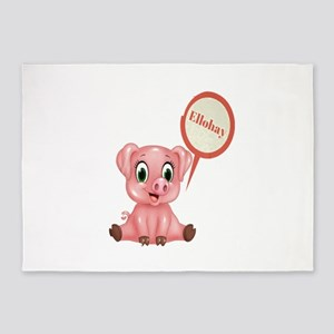 Piglet Saying Hello in Pig Latin 5'x7'Area Rug