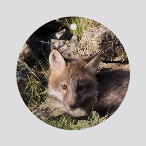 Cross Fox Kit Ornament (Round)
