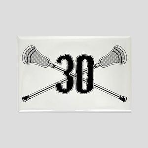 Lacrosse Number 30 Rectangle Magnet