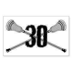 Lacrosse Number 30 Rectangle Decal