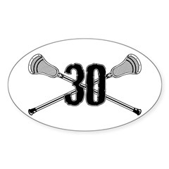 Lacrosse Number 30 Oval Decal