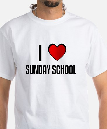 I LOVE SUNDAY SCHOOL White T-Shirt