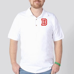 B - RED CAPITAL LETTER ATHLETIC MONOGRA Polo Shirt